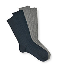 Calvin Klein Men's Gray/Navy 4-Pack Ribbed Assorted Sock