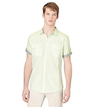 Calvin Klein Jeans® Men's Green Knoll Short Sleeve Sector Check Woven