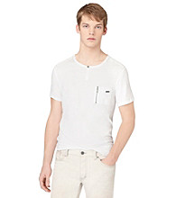 Calvin Klein Jeans® Men's White Short Sleeve Military Henley Pocket Tee