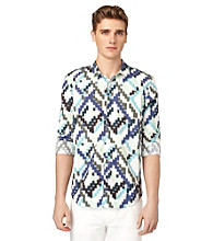 Calvin Klein Jeans® Men's Blue Mountain Long Sleeve Diagonal Ikat Print Woven