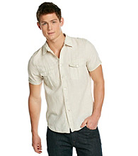 Guess Men's White Short Sleeve Dillion 2-Pocket Woven