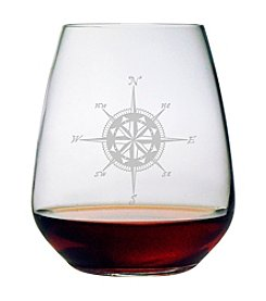 Susquehanna Glass Compass Rose Set of 4 Stemless Wine Glasses