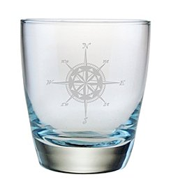 Susquehanna Glass Compass Rose Set of 4 Double Old Fashioned Rocks Glasses