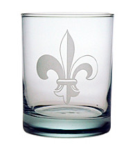 Susquehanna Glass Fleur De Lis Collection Set of 4 Double Old Fashioned Rocks Glasses