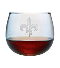 Susquehanna Glass Fleur De Lis Collection Set of 4 Stemless Wine Glasses