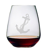 Susquehanna Glass Nautical Anchor Set of 4 Stemless Wine Glasses