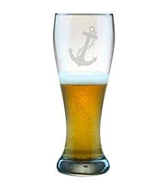 Susquehanna Glass Nautical Anchor Set of 4 Weizenbier Pilsner Glasses