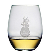 Susquehanna Glass Pineapple Collection Set of 4 Stemless Wine Glasses