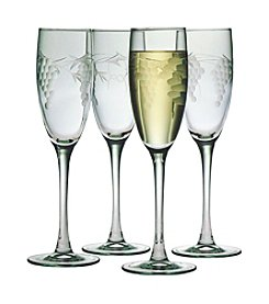 Susquehanna Glass Sonoma Collection Set of 4 Champagne Flutes