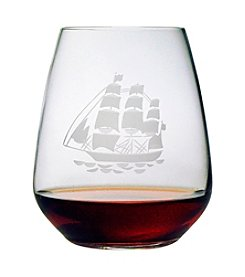 Susquehanna Glass Tall Ship Set of 4 Stemless Wine Glasses