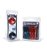 New York Giants Blue/Red 3 Ball Pack and 50 Tee Pack