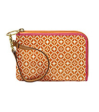 Fossil® Light Orange Signature Key-Per Wristlet