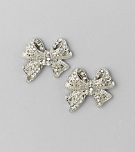 Studio Works® Pearl and Silvertone Bow Button Earrings