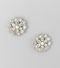 Studio Works® Pearl and Silvertone Button Earrings