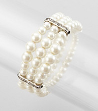 Studio Works® Pearl and Silvertone Three Row Stretch Bracelet