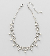 Studio Works® Pearl, Silvertone and Crystal Necklace