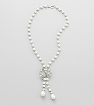 Studio Works® Pearl and Silvertone Bow Necklace