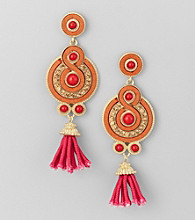 Relativity® Orange Post Drop Earrings with Tassel