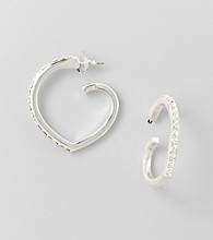 BT-Jeweled Crystal Heart Hoop Earrings