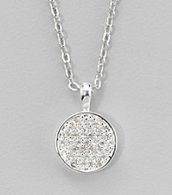 BT-Jeweled Silvertone Small Pendant