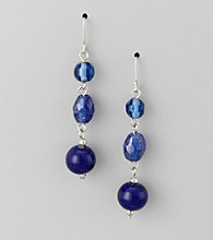 Studio Works® Cobalt and Silvertone Drop Earrings