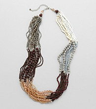 Studio Works® Natural and Silvertone Seed Bead Necklace