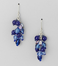 Studio Works® Cobalt and Goldtone Cluster Earrings