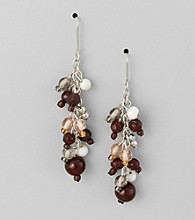 Studio Works® Natural and Silvertone Cluster Earrings