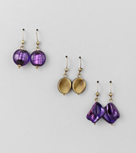 Studio Works® Purple Trio Earrings Set