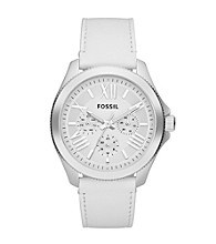 Fossil® Women's Cecile in Stainless Steel with White Leather Strap