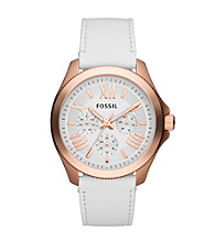 Fossil® Women's Cecile in Rose Goldtone with White Leather Strap