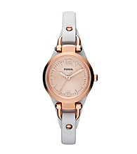 Fossil® Women's Mini Georgia in Rose Goldtone with White Leather Strap