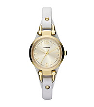 Fossil® Women's Mini Georgia in Goldtone with White Leather Strap