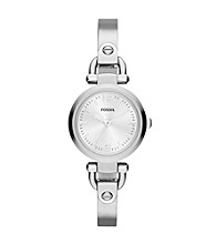 Fossil® Women's Mini Georgia Bangle in Stainless Steel with Adjust-O-Matic Links