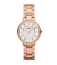Fossil® Women's Virginia in Rose Goldtone with Crystal Bezel and Adjust-O-Matic Links