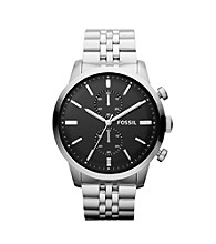 Fossil® Men's Townsman Watch in Silvertone and Black