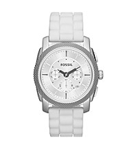 Fossil® Men's Machine Chronograph in Stainless Steel with White Silicone Strap