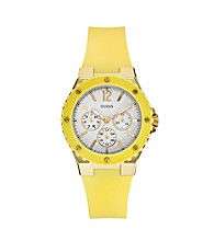Guess Yellow Feminine Sport Watch with Faux Carbon Fiber Dial