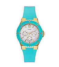 Guess Turquoise Feminine Sport Watch with Faux Carbon Fiber Dial