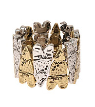L&J Accessories Two Tone Inspirational Heart Stretch Bracelet