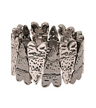 L&J Accessories Silver Inspirational Heart Stretch Bracelet