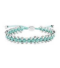 Fossil® Woven Turquoise Wrist Wrap with Silvertone Faceted Nugget Details