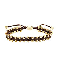 Fossil® Woven Brown Waxed Corded Wrist Wrap with Goldtone Faceted Nugget Details