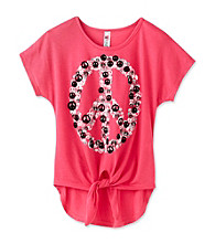 Beautees Girls' 7-16 Pink Tie Front Peace Top