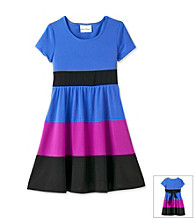 Rare Editions® Girls' 7-16 Blue/Purple/Black Colorblock Dress