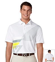 Callaway® Men's Bright White Short Sleeve Tactile Chevron Print Polo