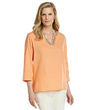 Cathy Daniels® Solid Tunic with Front Jeweled Embellishment