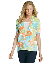 Cathy Daniels® Allover Floral Print Layered-Look Sweater