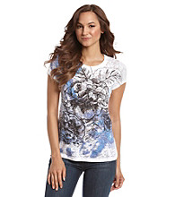 Relativity® Stencil Rose Burnout Crewneck Tee