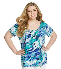 Relativity® Plus Size Printed Scoopneck Tee